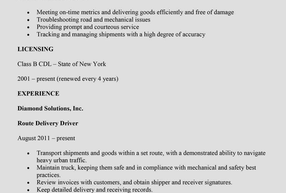 Courier Driver Resume Sample